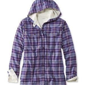 LLBean Fleece Lined Flannel Plaid Hoodie Jacket